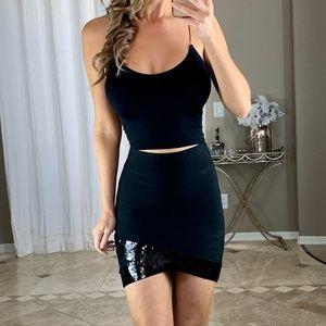 BCBGMaxAzria BCBG Sequin Black Bandage Power Skirt